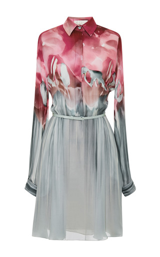 Floral aqua printed silk georgette dress by ELIE SAAB Preorder Now on Moda Operandi