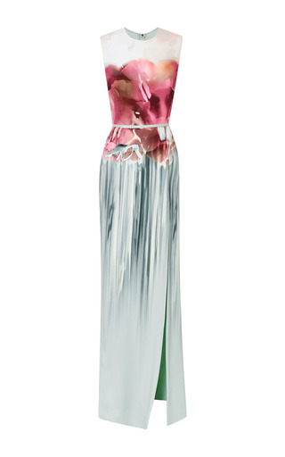 Floral aqua printed sleeveless gown by ELIE SAAB for Preorder on Moda Operandi