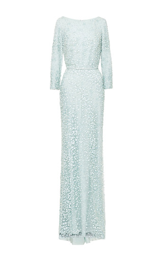 Mint embroidered long sleeve gown by ELIE SAAB for Preorder on Moda Operandi
