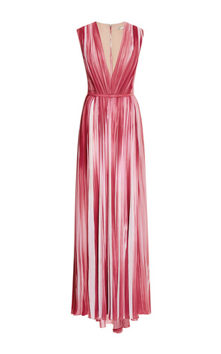 Begonia printed v-neck gown by ELIE SAAB Preorder Now on Moda Operandi