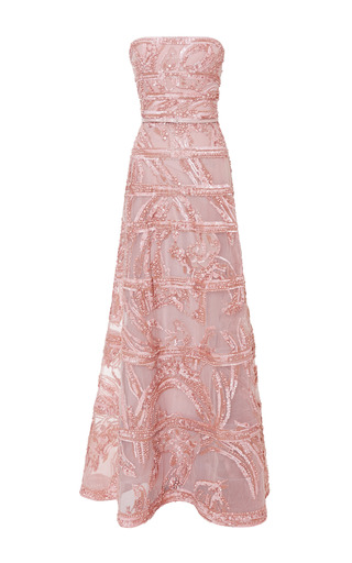 Blush strapless embroidered gown by ELIE SAAB Preorder Now on Moda Operandi