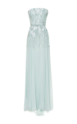 Mint strapless embroidered gown by ELIE SAAB Preorder Now on Moda Operandi
