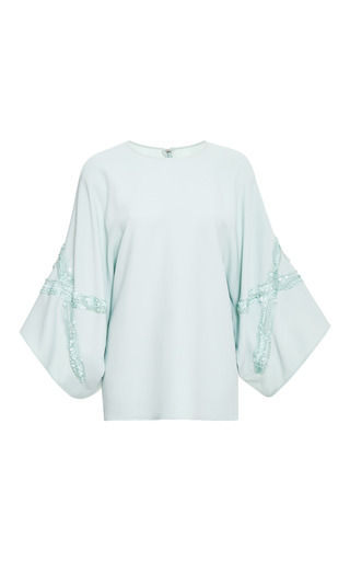 Mint embroidered wide sleeve top by ELIE SAAB Preorder Now on Moda Operandi