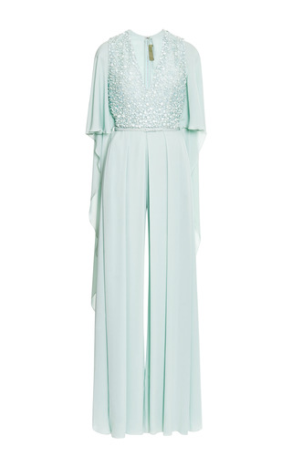 Mint embroidered wide leg jumpsuit with cape by ELIE SAAB Preorder Now on Moda Operandi