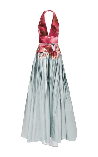 Floral aqua printed v-neck gown by ELIE SAAB for Preorder on Moda Operandi