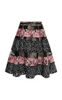Elie Saab - Black And Blush Lace Stripe Flounce Skirt
