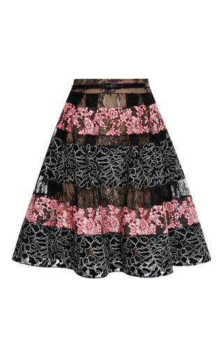 Black and blush lace stripe flounce skirt by ELIE SAAB Preorder Now on Moda Operandi