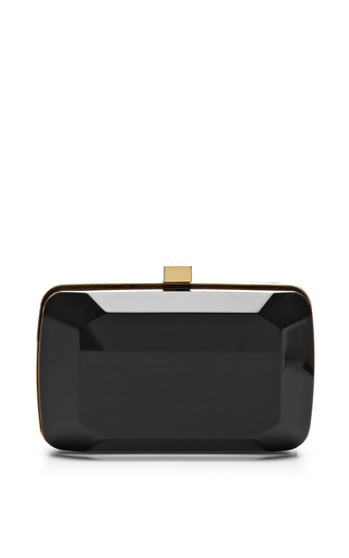Black small stone-shaped plexi clutch by ELIE SAAB Preorder Now on Moda Operandi