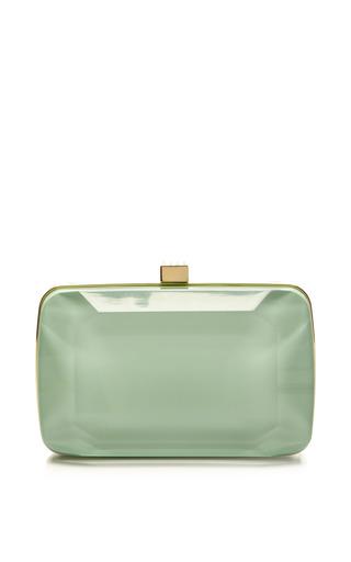 Mint small stone-shaped plexi clutch by ELIE SAAB for Preorder on Moda Operandi