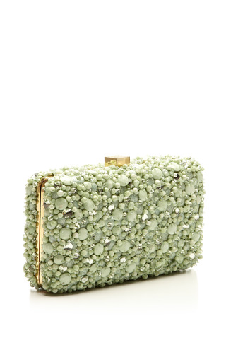 Mint Small Embroidery Clutch by Elie Saab for Preorder on Moda Operandi