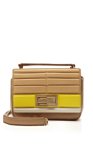 Small tricolor shoulder bag in sand/iris/jasmine by ELIE SAAB Preorder Now on Moda Operandi