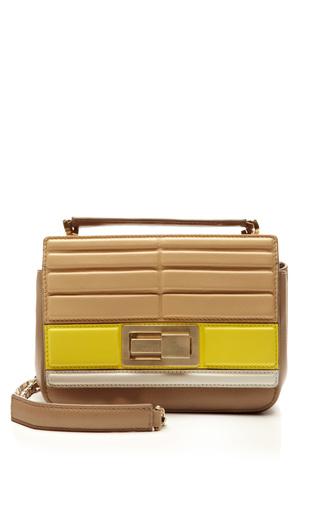Small tricolor shoulder bag in sand/iris/jasmine by ELIE SAAB for Preorder on Moda Operandi