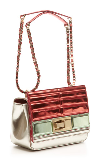 Small Metallized Tricolor Shoulder Bag In Mint/Begonia by Elie Saab for Preorder on Moda Operandi