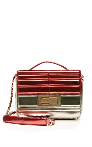 Small metallized tricolor shoulder bag in mint/begonia by ELIE SAAB Preorder Now on Moda Operandi