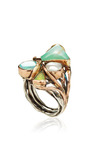 One Of A Kind 12K Gold And Silver Ring With Pearl And Opals by Sandra Dini for Preorder on Moda Operandi