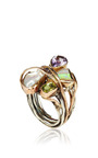 One Of A Kind 12K Gold And Silver Ring With Opal, Amethyst, Peridot, And Pearl by Sandra Dini for Preorder on Moda Operandi