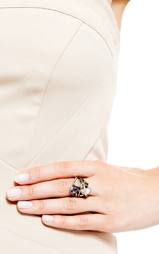 One Of A Kind 12 K Gold And Silver Ring With Opal, Amethyst, Peridot, And Pearl by SANDRA DINI for Preorder on Moda Operandi