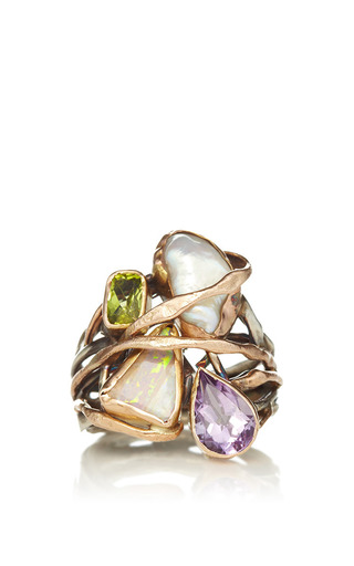Sandra Dini - One Of A Kind 12K Gold And Silver Ring With Opal, Amethyst, Peridot, And Pearl