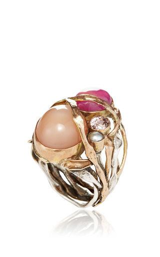 Sandra Dini - One Of A Kind 12K Gold Ring With Pink Moonstone, Pink Ruby, And Pearl