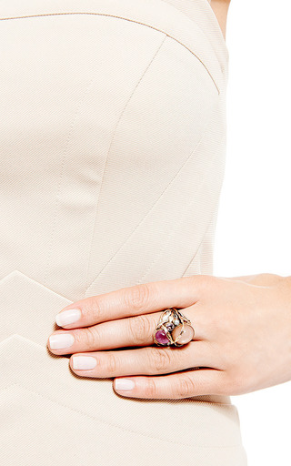 One Of A Kind 12K Gold Ring With Pink Moonstone, Pink Ruby, And Pearl by Sandra Dini for Preorder on Moda Operandi