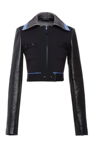 Indigo bonded knit rib and leather zip front jacket by CALVIN KLEIN COLLECTION Preorder Now on Moda Operandi