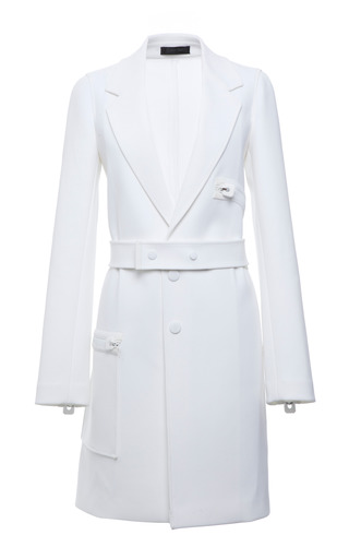 Optic white technical crepe snap front coat by CALVIN KLEIN COLLECTION Preorder Now on Moda Operandi