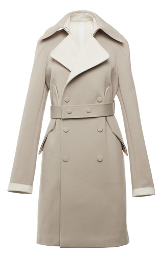 Luna and sand double faced compact nylon double breasted trench by CALVIN KLEIN COLLECTION for Preorder on Moda Operandi