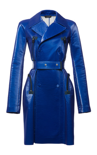 Lapis glazed bonded mesh trench by CALVIN KLEIN COLLECTION Preorder Now on Moda Operandi