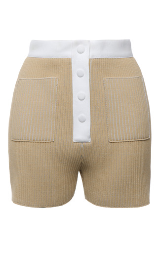 Beige knit rib button front short by CALVIN KLEIN COLLECTION for Preorder on Moda Operandi