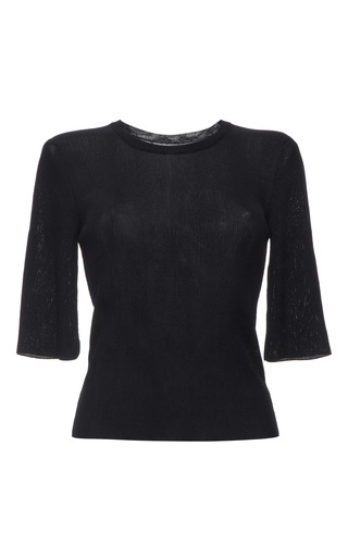 Indigo knit rib short sleeve t-shirt by CALVIN KLEIN COLLECTION Preorder Now on Moda Operandi