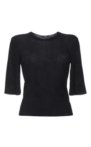 Indigo knit rib short sleeve t-shirt by CALVIN KLEIN COLLECTION for Preorder on Moda Operandi