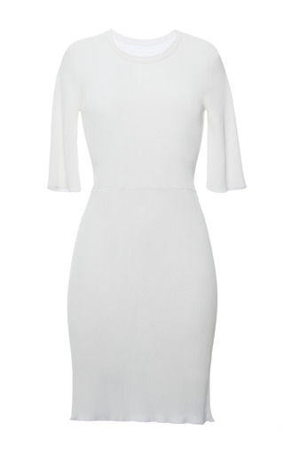 White viscose knit rib short sleeve t-shirt dress by CALVIN KLEIN COLLECTION Preorder Now on Moda Operandi
