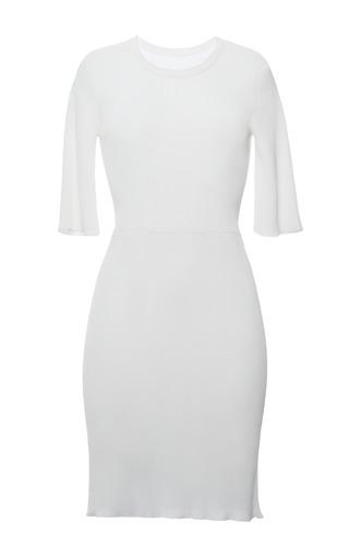 White viscose knit rib short sleeve t-shirt dress by CALVIN KLEIN COLLECTION for Preorder on Moda Operandi