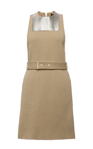 Beige knit rib metal bib sleeveless dress by CALVIN KLEIN COLLECTION Preorder Now on Moda Operandi