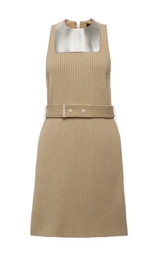 Beige knit rib metal bib sleeveless dress by CALVIN KLEIN COLLECTION for Preorder on Moda Operandi