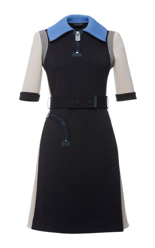 Indigo and sand and cerulean double faced short sleeve dress by CALVIN KLEIN COLLECTION Preorder Now on Moda Operandi