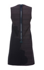 Calvin Klein Collection - Optic White And Navy Stretch Twill Laser Print Sleeveless Dress