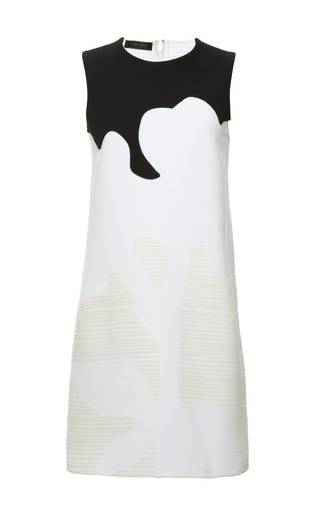 Navy and optic white stretch twill laser print sleeveless dress by CALVIN KLEIN COLLECTION for Preorder on Moda Operandi