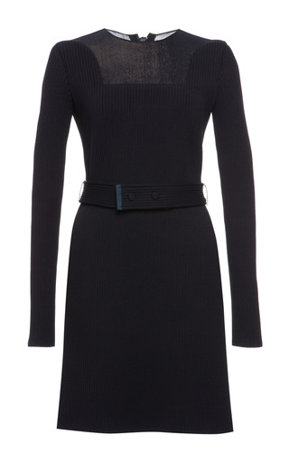 Indigo knit rib long sleeve dress by CALVIN KLEIN COLLECTION Preorder Now on Moda Operandi