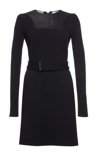 Indigo knit rib long sleeve dress by CALVIN KLEIN COLLECTION for Preorder on Moda Operandi