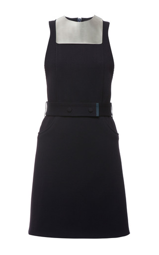 Indigo knit rib metal bib sleeveless dress by CALVIN KLEIN COLLECTION Preorder Now on Moda Operandi