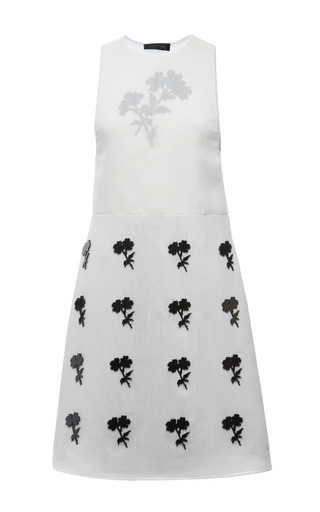 White techno silk gauze lucite flower sleeveless dress by CALVIN KLEIN COLLECTION Preorder Now on Moda Operandi