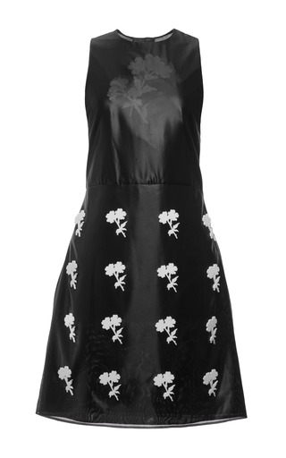 Black glazed organza lucite flower sleeveless dress by CALVIN KLEIN COLLECTION Preorder Now on Moda Operandi