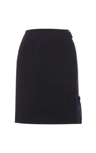 Indigo and cerulean double faced compact nylon side zip skirt by CALVIN KLEIN COLLECTION for Preorder on Moda Operandi