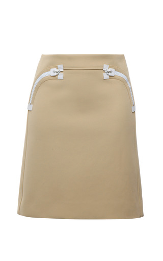 Beige bonded matte twill skirt by CALVIN KLEIN COLLECTION Preorder Now on Moda Operandi