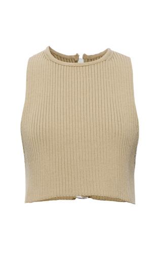 Wheat knit rib sleeveless t-shirt by CALVIN KLEIN COLLECTION for Preorder on Moda Operandi