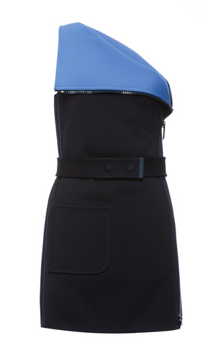 Indigo and cerulean double faced compact nylon one shoulder top by CALVIN KLEIN COLLECTION Preorder Now on Moda Operandi