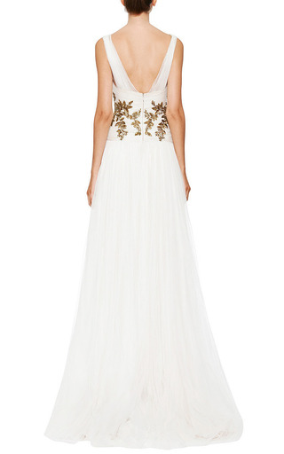 Marchesa - Ivory Chiffon Embroidered Bodice Gown