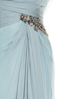 Marchesa - One Shouldered Chiffon Gown With Embroidered Bodice And Drape Detail