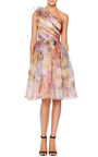 Marchesa - Floral Print One Shoulder Cocktail Dress